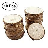 vorcool 100Holz Scheiben rund Holz Scheiben Kreise für Craft Hochzeit Aufsteller Rustikal 7–8cm