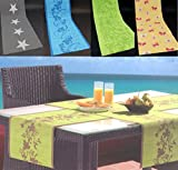 Garten Outdoor Tischdecke Tischläufer in gelb mit Schmetterlingen in rot orange - 40x150 cm - pflegeleicht - rutschhemmend - wind- & wetterfest - UV-beständig - waschbar - phthalatfrei Typ334