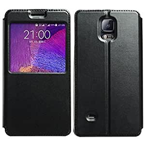 Black Basic Easy View Leather Flip Cover for Samsung Galaxy Note 1 N7000 i9220