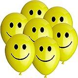 50 Luftballons Ø 25 cm Motiv Smiley Gelb Ballons Helium Luftballon