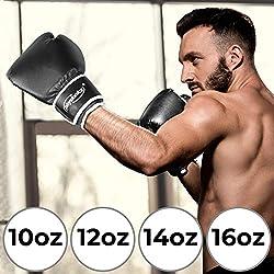 Physionics Gants de Boxe - Taille 10, 12, 14, 16 oz, Homme, Femme, Noir/Blanc - MMA, Muay Thai Kickboxing, Sparring, Arts Martiaux, Gants d'Entraînement, de Frappe