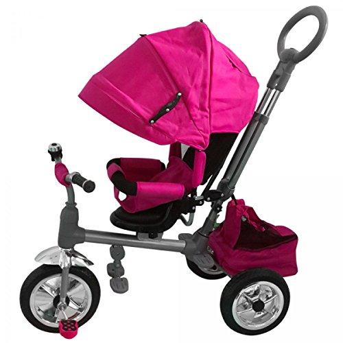 Triciclo passeggino luxury rosa con manico direzionabile e cappottina, sedile girevole