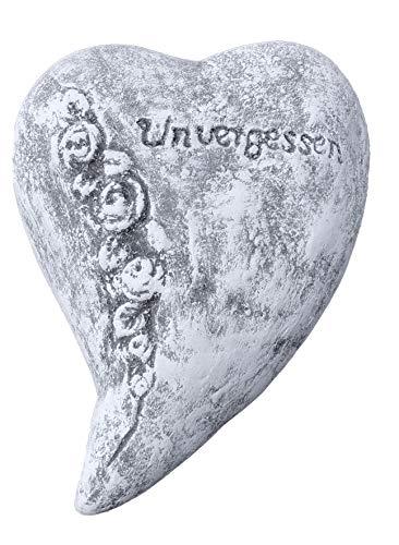 Grabschmuck kleines Herz Unvergessen, Frost- und wetterfest, massiver Steinguss