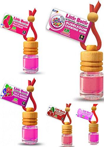 Preisvergleich Produktbild 5 Stück elegante Duftflakons fürs Auto Autoduft Lufterfrischer Topseller Mix: Bubble Gum, Cherry, Cotton Candy, Watermelon, Wild Berries