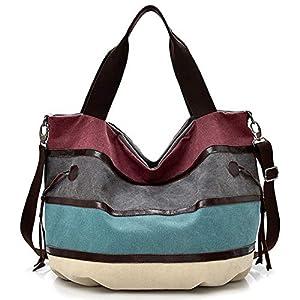 Travistar Handtasche Damen Schultertasche Multifunktionale Canvas Tasche Mode Farbmischung Shopper Hobos Bag Gross Für Arbeit Schule Lässige Täglich