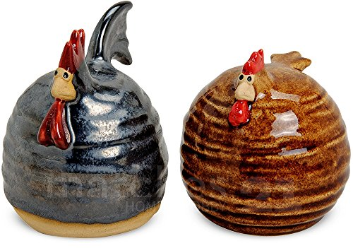 matches21 Huhn & Hahn Deko-Figuren Oster-Dekoration Frühling grau / braun bemalt 2er Set Keramik je ca. 10 cm (Figur Bemalte Keramik)