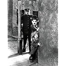 LuxHomeDecor Marco Impresión Sobre Panel de Madera DM Charlie Chaplin Police Tamaño 70x 50cm Borde Negro