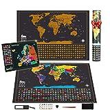 Weltkarte zum Rubbeln mit BONUS Europa Rubbel Weltkarte, 64 x 42 CM Weltkarte, 46 x 33 cm Europakarte, Landkarte Zum Freirubbeln Poster Geschenk Erinnerung für Reisende