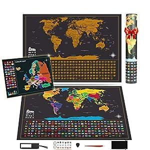 KOOOPER Mapa del mundo, Mapa mural para rascar del Mundo 255*165mm y 180*130mm – País, las ciudades que visitó – para viajeros/exploradores/coleccionistas, etc – Con pegatinas + herramienta de rayado