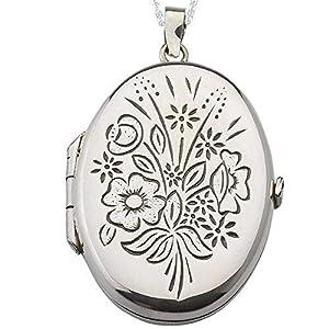 Alylosilver Silber Oval Medaillon Anhänger Zum Öffnen Für Zwei Bilder Für Frauen Mit Eingravierter Blumen – Beinhaltet Eine 45 Zentimeter Lange Silber Kette Und Eine Geschenk Box.