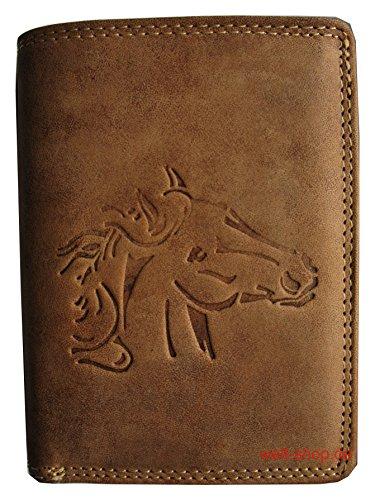 Portemonnaie Büffel Leder Wild Pferd Hengst geprägt