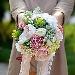 Ramo Novia Artificial - bouquet imitación flores reales - tonos blancos y rosas