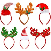 Elcoho 6 Pack Christmas Headbands Elves Party Hats Christmas Reindeer Costume Headbands for Christmas Holiday Party