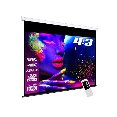 eSmart Germany MIMOTO | Motorleinwand | 244 x 183 cm (120') 4:3 | Programmierbare Fernbedienung | Vollmaskierung | Heimkino elektrische Beamer Projektionsleinwand Motor Leinwand LCD LED | Modell 2018