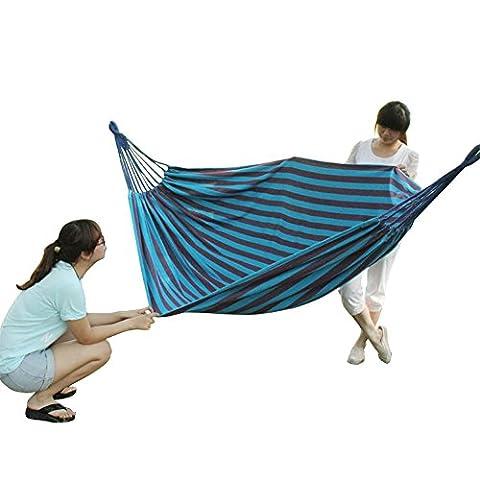 Lugii Cube sur toile Hamac extérieur portable épaississant Lit double à suspendre Hamac 150cm de largeur pour le camping Jardin, bleu marine