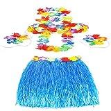 Popamazing Blue 60cm Hawaiian Grass Skirt Flower Hula Lei Garland Fancy Dress Costume 5 Piece Set