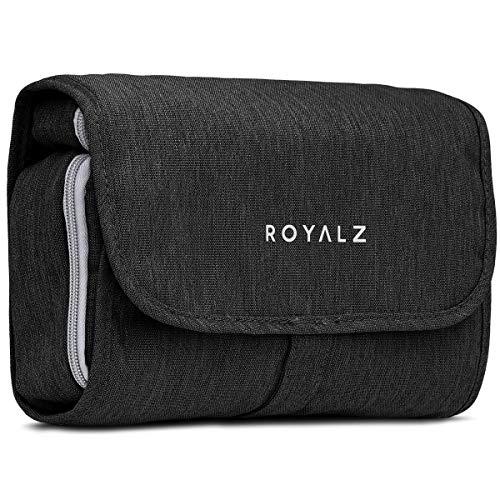 Beauty case royalz con gancio da donna, uomo e bambino - per viaggi ed escursioni come porta trucchi trousse borsa da bagno - 100% poliestere impermeabile, colore:nero