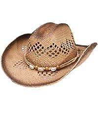 Sombreros De Vaquero De Paja Mujeres Hombres Rafi Verano Sombreros Panamá De Playa Sombrero Para El Sol, Marrón