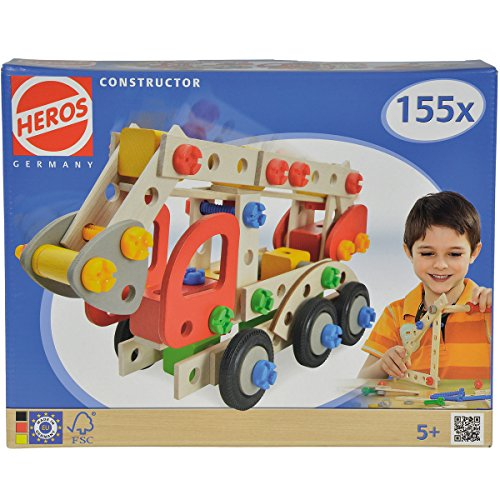 Holz Bausatz Constructor Feuerwehrauto 135 teilig, ab 5 Jahren geeignet - Fahrzeug Bau Set Spielzeug