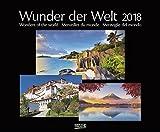 Wunder der Welt 2018: Großer Wandkalender über die Landschaft und Wahrzeichen der Erde. PhotoArt Kalender mit edlem schwarzem Hintergrund. 55 x 45,5 cm