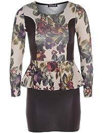 nouvelles femmes floral peplum pu robe longue jupe de contraste