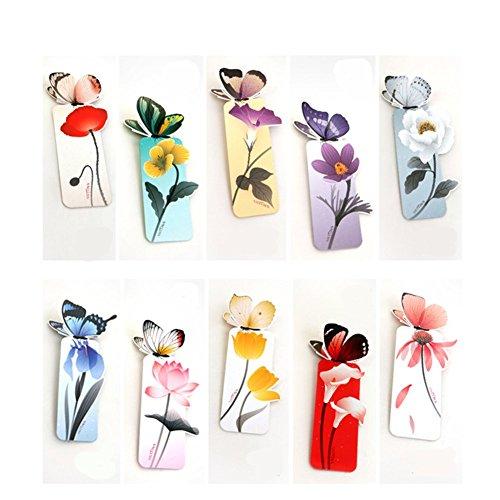 Mackur segnalibri con farfalla e fiore design Book Marks fermo 10PCS