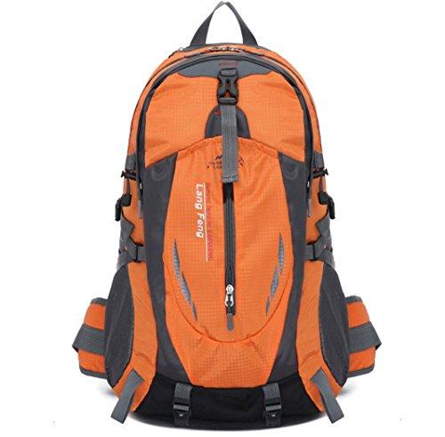 LQABW Schulter-Bergsteigen Berufssport 35L Outdoor-Freizeit Reisen Wandern Wasserdichte Tasche Rucksack Orange