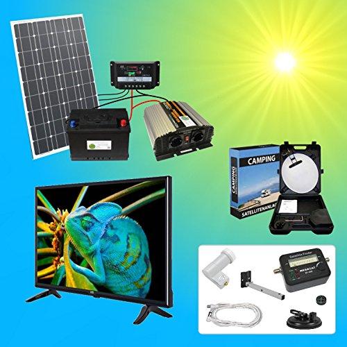 Komplettes 220V TV Solarspeichersystem inkl. Fernseher und Sat Anlage Solaranlage ITT TÜV mit 1x...
