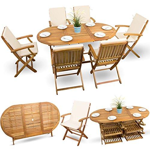 13-tlg Akazien Gartenmöbel Set Essgarnitur Holz Sitzgruppe Holzmöbel Gartenmöbel geölt # 6x Klappstuhl # 1x Klapptisch # 6x Sitz Auflagen # creme-weiss