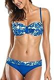ALove Damen Blumen Push Up Bandeau Bikinis Raffung Mit Bügel Blau XL