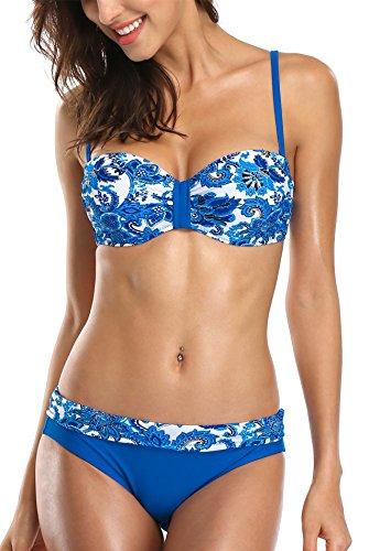 ALove Damen Geblümt Bandeau Bikini Mit Bügel Push Up Raffung Bikini Set Blau L (Bügel-bikini)