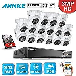 Kit de 16 Cámaras de Seguridad Vigilancia ( H.264+ DVR 16 Canales 3MP y CCTV Cámaras 1920*1536P Metal IP66 Impermeable Exterior y Interior Visión Nocturna Rápido Detección de Movimiento--1TB disco duro