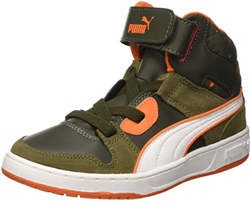 Puma Puma Rebound Street Wcamo Jr, Baskets Hautes Mixte Enfant Burnt Olive/Forest Night/Bianco/Vermillion Arancione