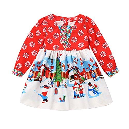 Kleinkind Kinder Weihnachten Outfits VENMO Karikatur Prinzessin Kleider Kleid festlich Lange Brautjungfern Hochzeit Blumensmädchenkleid Partykleid Festlich Hochzeits Blumenmädchen Kleider (80, (Kostüme Verkauf Kleinkind)