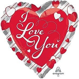 Amscan International Anagram 3647001 - Globo de papel de aluminio (66 cm), diseño de corazones y rayas plateadas