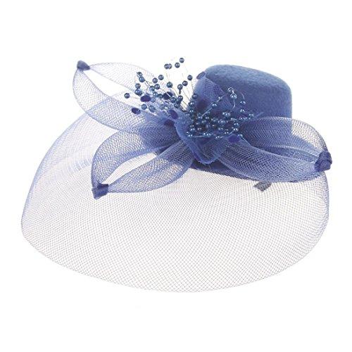 Liuchehd hot sale!! cerchietto con piume capelli della piuma fiore clip donne accessorio da sposa per halloween cocktail cerimonia nuziale del partito (blu, taglia unica)