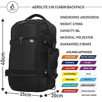 Aerolite 40x20x25cm Tamaño Máximo Permitido por Ryanair Equipaje de Mano Bolsa de Cabina Bolsa de Hombro Mochila Bolsa de Vuelo 40x20x25, Negro