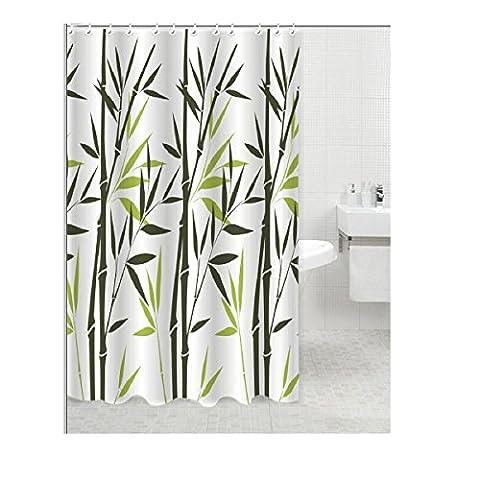 Carpe Modo Rideau de douche textile/100% polyester/motifs: Bambou/Couleur: Vert Blanc/Dimensions: 180x 200cm/bon marché