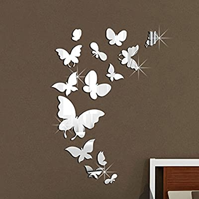 Walplus (TM) Mirror Butterflies Wall Stickers - Home Decoration, 14pcs, Finish Size 37cm x 55cm, PVC, Removable, Self-Adhesive, Multi-Color