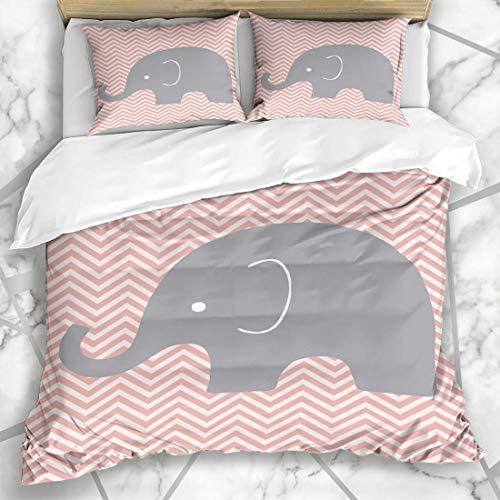 Soefipok Bettbezug-Sets Baby Kinderzimmer Elefantenzimmer Wand Chevron Kinder Musterdesign Mikrofaser Bettwäsche mit 2 Kissenbezügen - Baby-bettwäsche-sets Chevron