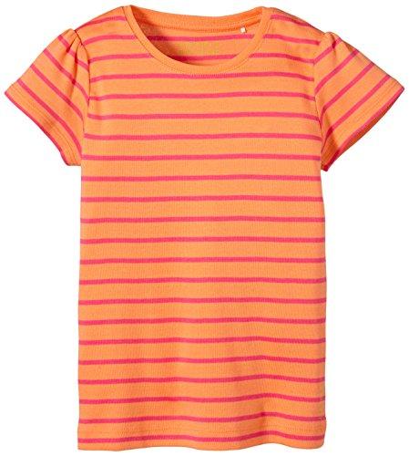 ESPRIT Mädchen T-Shirt 055EE7K009, Gestreift, Gr. 128 (Herstellergröße: 128/134), Orange (CW ORANGE 800)