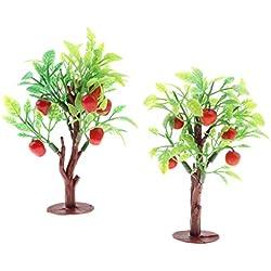 F Fityle 2pcs Miniatur Bäume Modell Obstbäume Apfelbäume Deko Bäume für Puppenhaus Dekoration