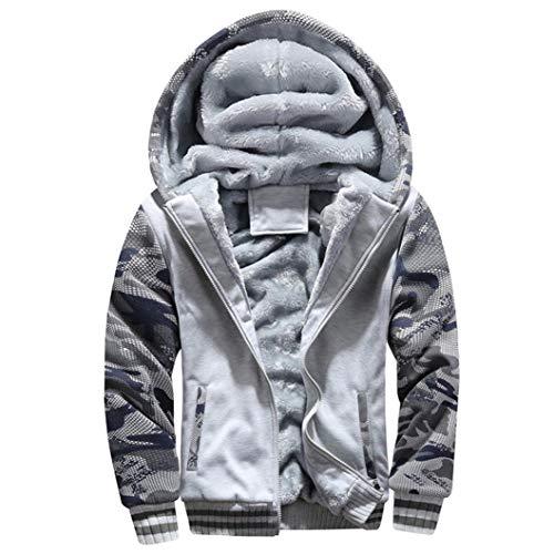 Distressed-fleece-sweatshirt (TIFIY Herren Winter Warm Fleece Hood Kapuzenmantel Distressed Pullover Jacke Pullover Outwear Heißer Mantel M-4XL)