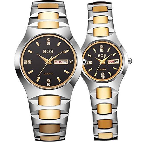 BOS Couple Watches Waterproof Stainless Steel Quartz Wrist Watch for Men Women 8006