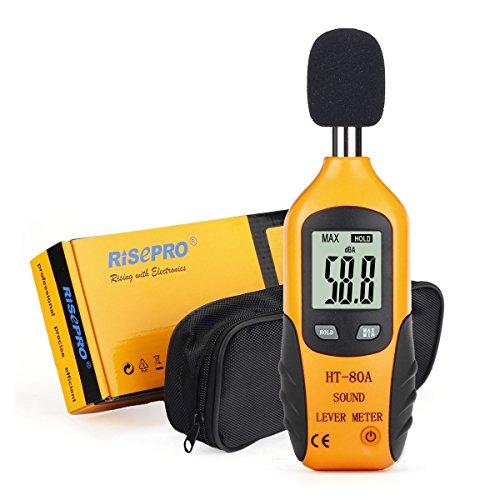 Dezibel Meter, RISEPRO ® Digitale Schallpegelmesser Audio Geräuschmessgerät Dual Ranges HT-80A