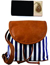 Kleio Combo Of Ethnic Velvet Sling Broach Clutch & Casual Striped Canvas Sling Bag.