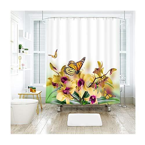 lbe Blumen Und Schmetterlinge Ringe Duschvorhang Duschvorhang Polyester Badewannenvorhang Anti-Schimmel Mehrfarbig 180X180Cm ()
