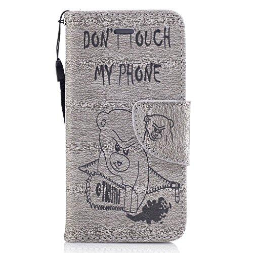 Crisant 3D Kettensägen-Bär Drucken Design schutzhülle für Apple iPhone 5 5S / SE,PU Leder Wallet Handytasche Flip Case Cover Etui Schutz Tasche mit Integrierten Card Kartensteckplätzen und Ständer Fun grau