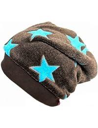 WOLLHUHN Warme Beanie-Mütze in dunkelbraun mit türkisfarbenen Sternen, Wellnessfleece, für Jungen und Mädchen 57724831