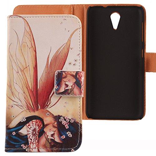 Lankashi PU Flip Leder Tasche Hülle Case Cover Schutz Handy Etui Skin Für HTC Desire 620 620G / 820 Mini Wing Girl Design